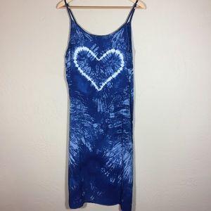 Dress heart tie dye die blue and white